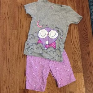 5t purple owl shorts and short sleeve pajamas